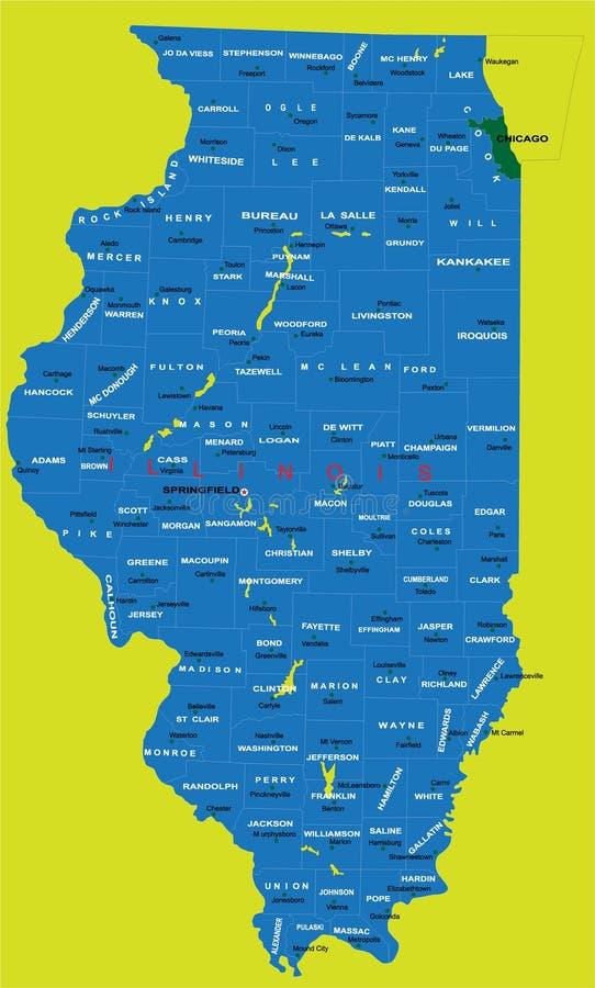 Zustand Der Illinois-politischen Karte Stockbild