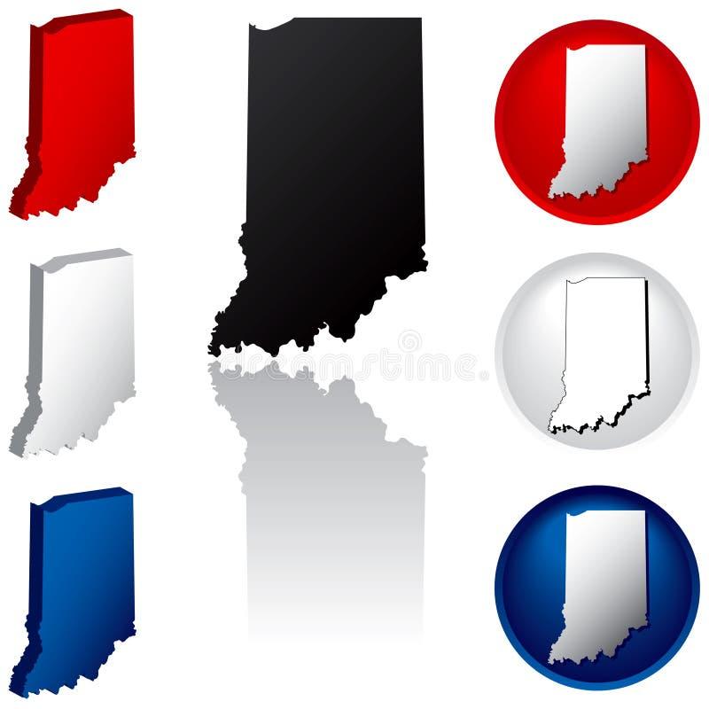 Zustand der Indiana-Ikonen vektor abbildung