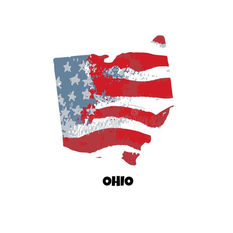 Zustand von Ohio Staaten von Amerika Auch im corel abgehobenen Betrag WA vektor abbildung