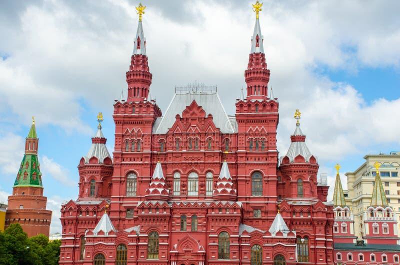 Zustands-historisches Museum, Roter Platz Moskau, Russland stockbilder