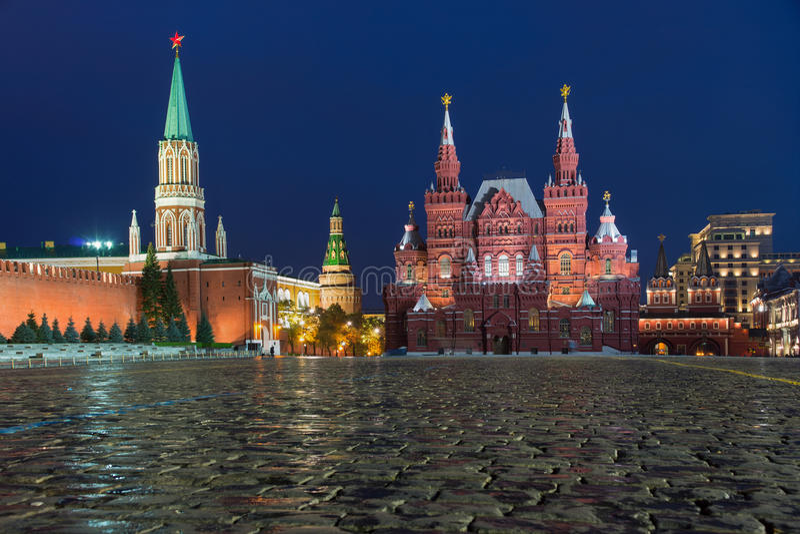 Zustands-historisches Museum, Roter Platz, Moskau, Russland stockfotos