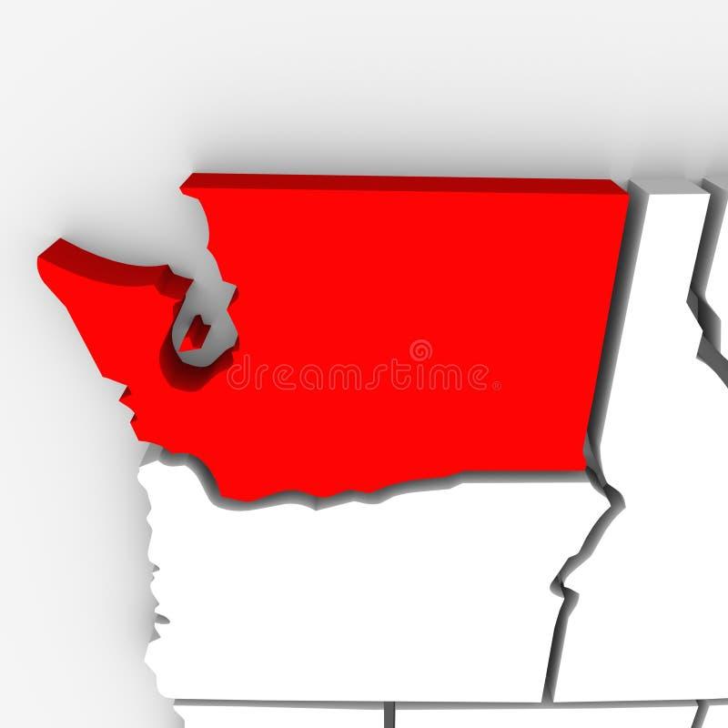 Zustands-Karte Vereinigte Staaten Amerika Washingtons rote Zusammenfassungs-3D lizenzfreie abbildung