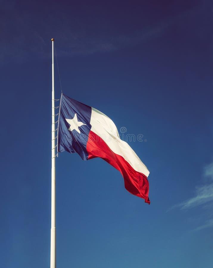 Zustandsflagge von Texas-Fliegen am Halbmast lizenzfreie stockfotos