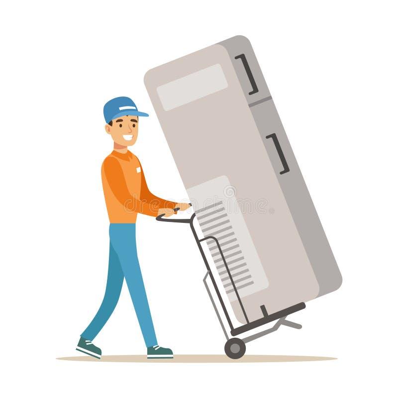 Zustelldienst-Arbeitskraft mit großem Kühlschrank auf Warenkorb, lächelnder Kurier Delivering Packages Illustration lizenzfreie abbildung