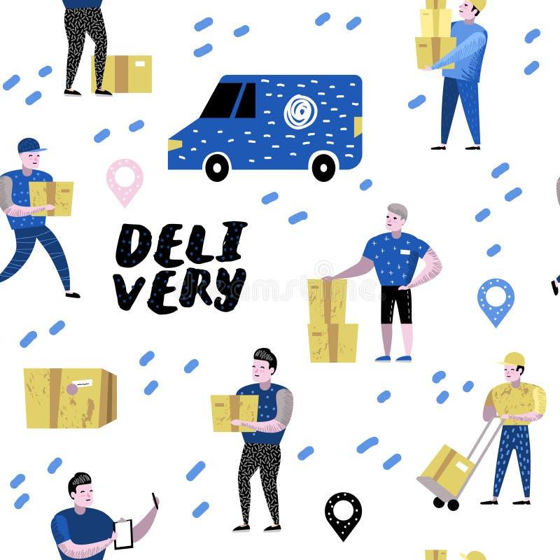 Zustelldienst, Fracht-Industrie Kurier Characters Set in den verschiedenen Haltungen Postangestellter in der Uniform mit Paketen stock abbildung