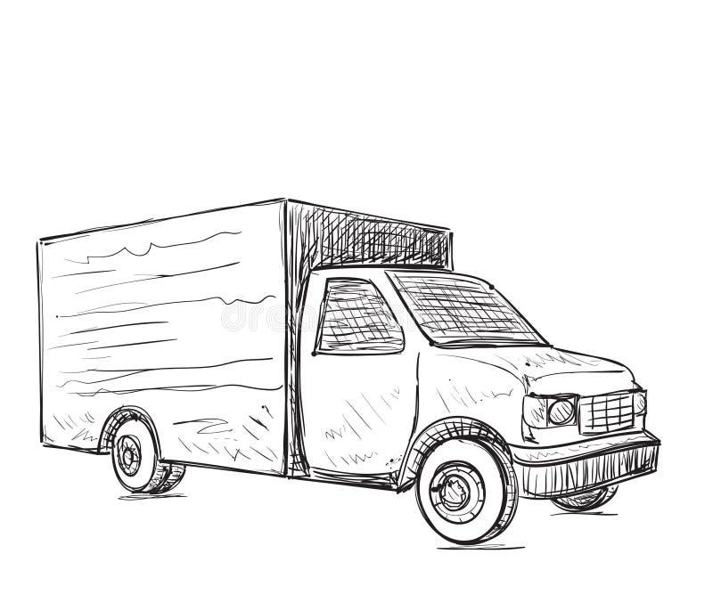 Zustelldienst Stattliche Arbeitskraft mit einem Kasten Hand gezeichneter LKW vektor abbildung
