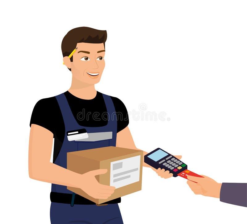 Zustelldienst und Zahlung mit Kreditkarte lizenzfreie abbildung