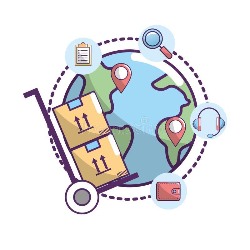 Zustelldienst zum Transportpaketstandort lizenzfreie abbildung