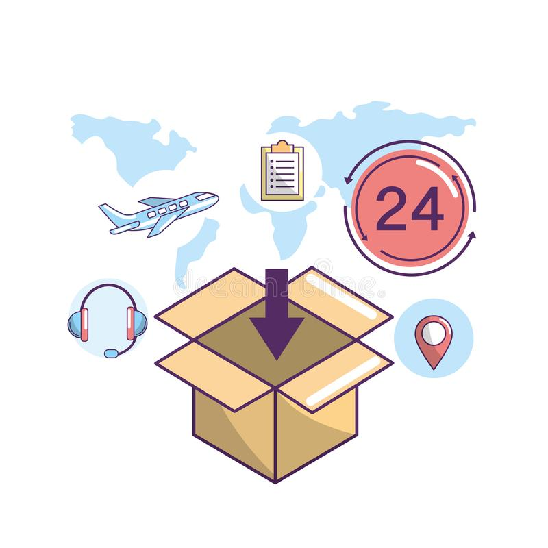 Zustelldienst zum Transportpaketstandort stock abbildung