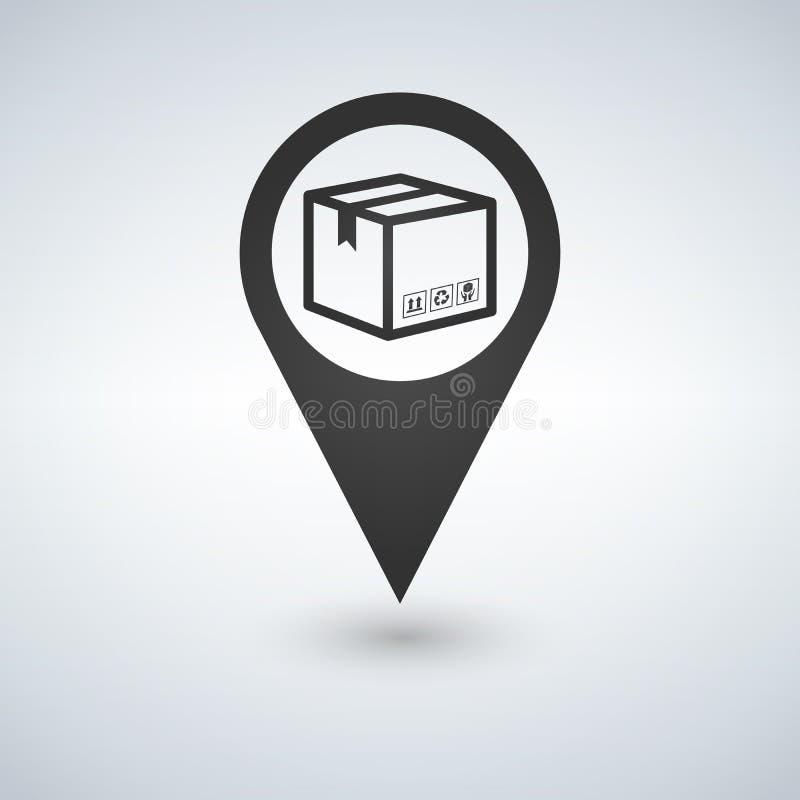 Zustelldienste, Verlegung, Frachtversand oder Verteilungs-, Logistik- und Transportillustrationskonzept Kasten mit Karte poi vektor abbildung