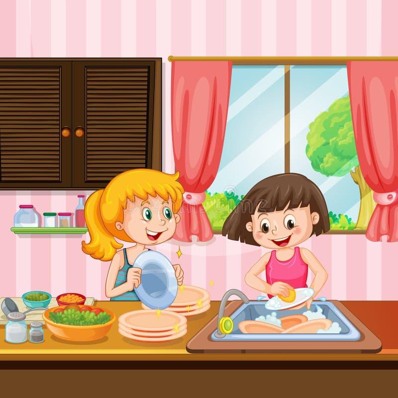 Zuster Cleaning Dishes in Keuken vector illustratie