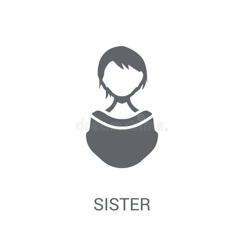 zusterpictogram Het in concept van het zusterembleem op witte achtergrond van stock illustratie