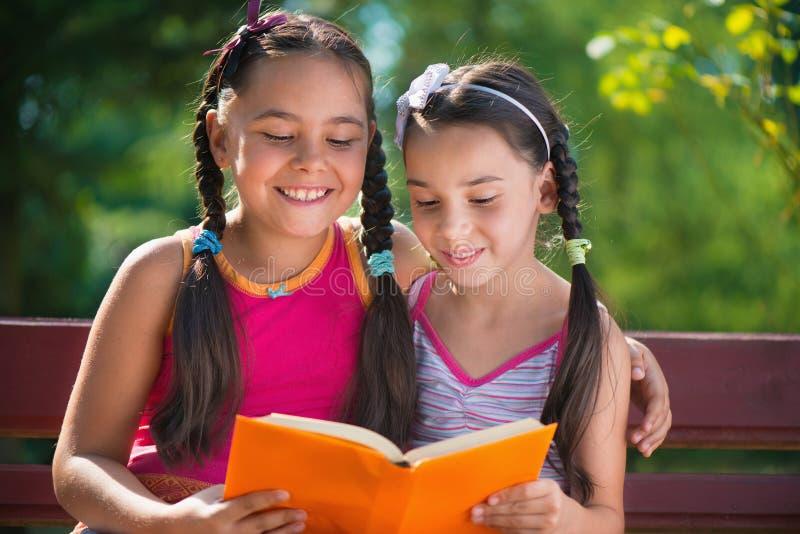 Zusters die boek in de zomerpark lezen stock foto