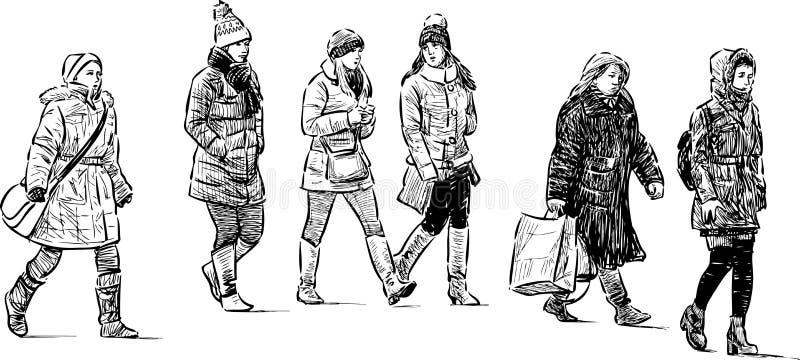 Zusters die handen houden lopend op een promenade vector illustratie