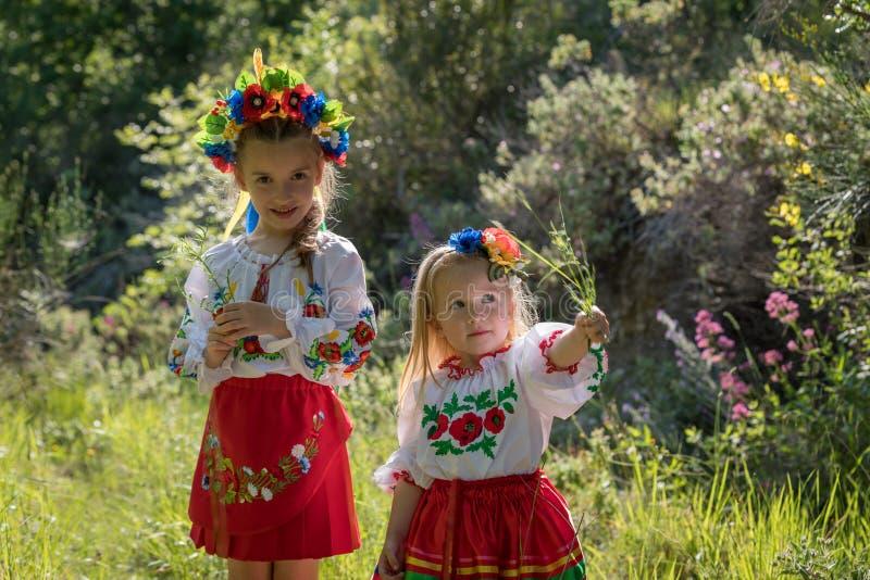 Zusters in Oekraïense nationale kleding royalty-vrije stock afbeelding