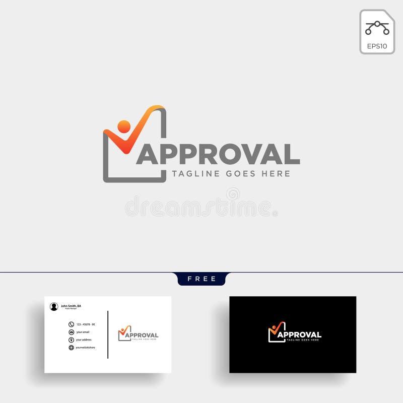Zustimmungs-Kontrolle, Logoschablonen-Vektorillustration überprüfend lizenzfreie abbildung