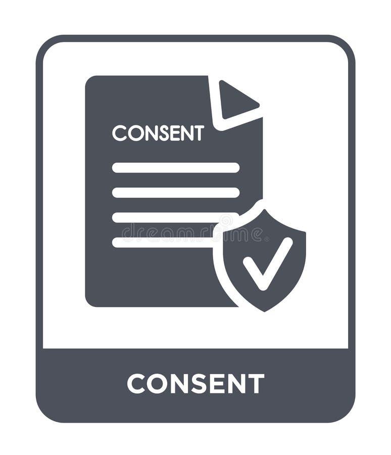 Zustimmungsikone in der modischen Entwurfsart Zustimmungsikone lokalisiert auf weißem Hintergrund einfaches und modernes flaches  lizenzfreie abbildung