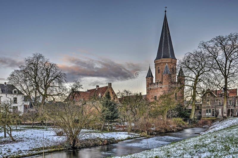 Zutphen miasta poprzednia brama w zimie obraz royalty free