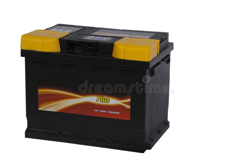 Zuur-loodbatterij voor auto's op een witte achtergrond stock afbeeldingen