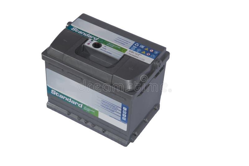 Zuur-loodbatterij voor auto's op een witte achtergrond stock afbeelding