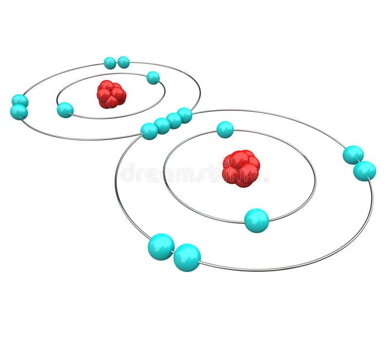 Zuurstof - AtoomDiagram stock illustratie