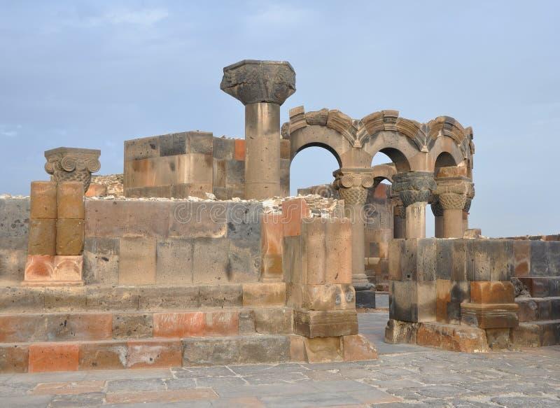 Zvartnots - świątynia czuwanie aniołowie Armenia obrazy stock