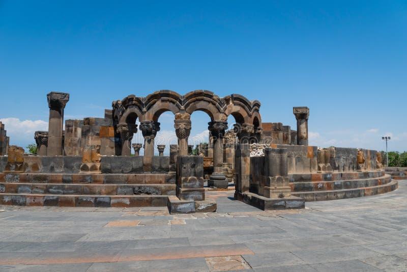 Zvartnots Cathedral ruin near Yerevan, Armenia. Zvartnots Cathedral is a 7th-century centrally planned aisled tetraconch type Armenian cathedral and UNESCO stock photography