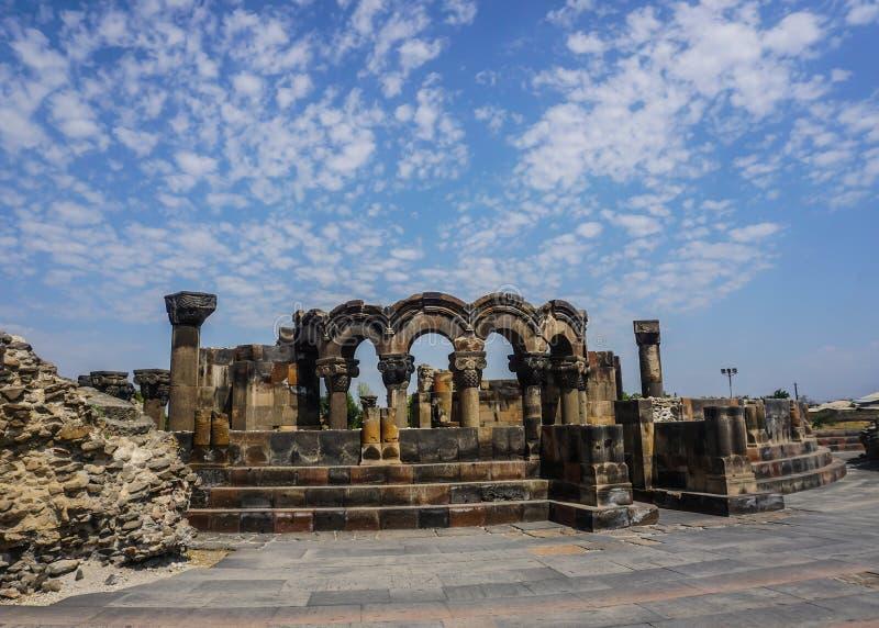 Zvartnots-Kathedrale ruiniert Betrachtungs-Punkt stockbild