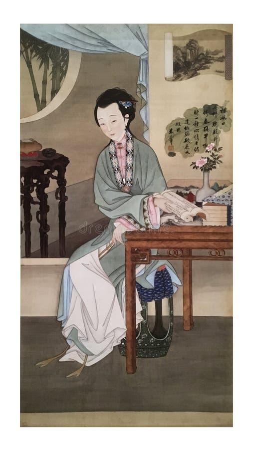 Chinesische Malerei Zwei Alte Menschen Spielen Schach