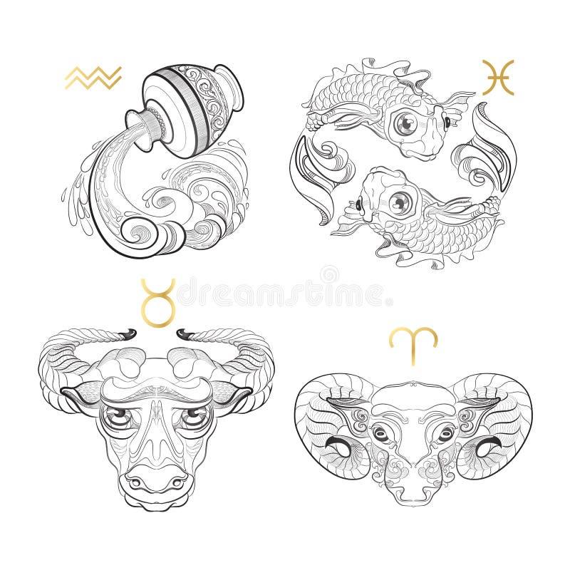Zwölf Symbole des Tierkreises für verschiedene Auslegunggestaltungsarbeiten Wassermann Fische Taurus Aries vektor abbildung