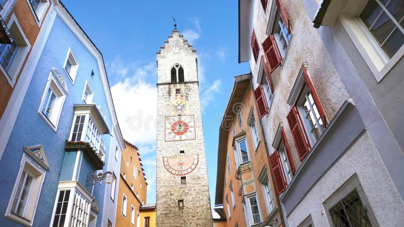 Zwölferturm tower in the old medieval town of Sterzing Vipiteno, South Tyrol, Italy.  stock photo