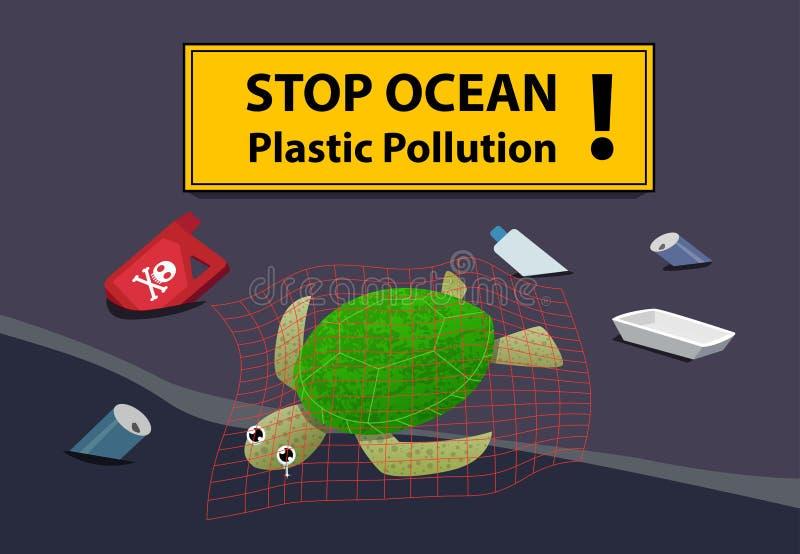 Zwłoki żółw przy plażowym zanieczyszczeniem z olejem i dżonką ilustracja wektor
