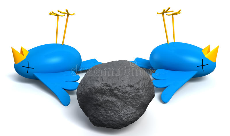 Zwłoki Dwa ptaki Z Jeden kamieniem ilustracja wektor