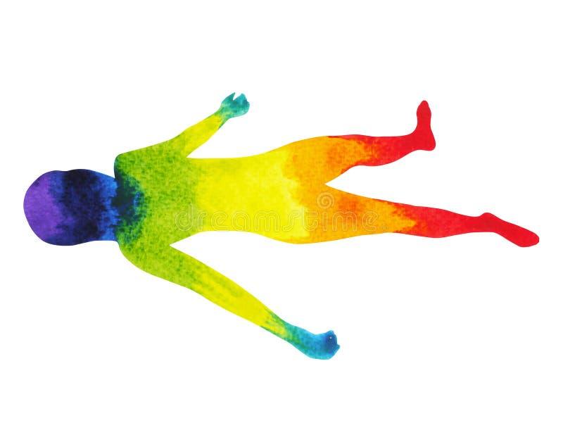 Zwłoki pozy joga, 7 kolorów chakra akwareli obrazu ręka rysująca ilustracja wektor