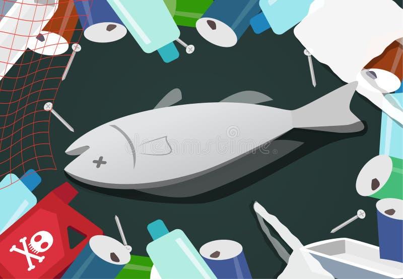 Zwłoki ryba w stosie dżonka przy dennym zanieczyszczeniem ilustracji
