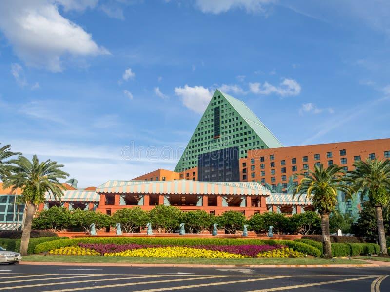 Zwaan en Dolfijnhotel, Disney-Wereld stock afbeelding