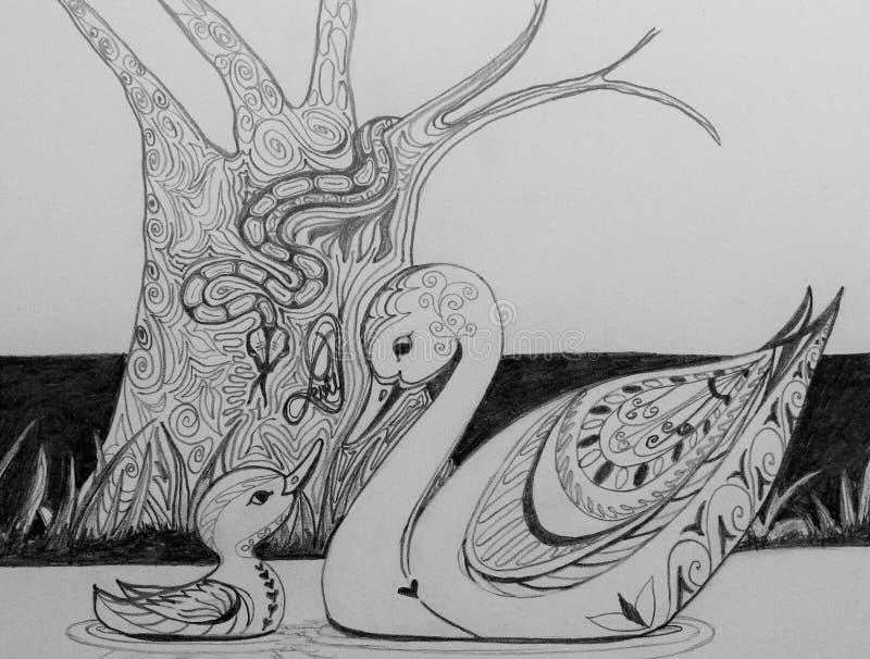 Zwaan en haar cignet vergeetachtig van duivelse slang stock afbeelding