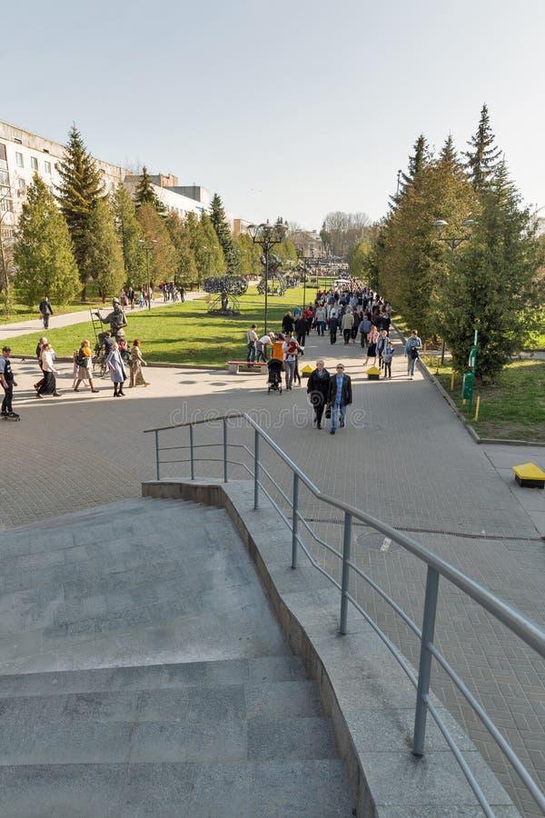 Zwaanpark in Rovno, de Oekraïne stock fotografie