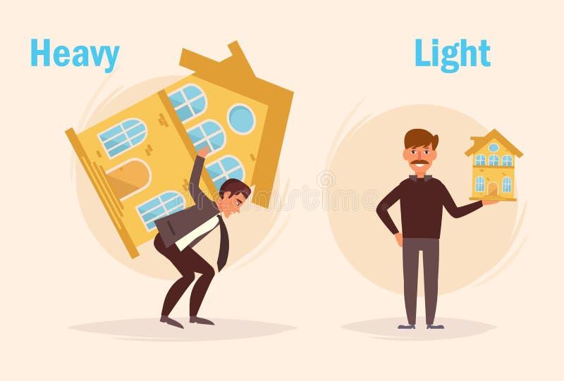 Zwaar Licht tegenover royalty-vrije illustratie