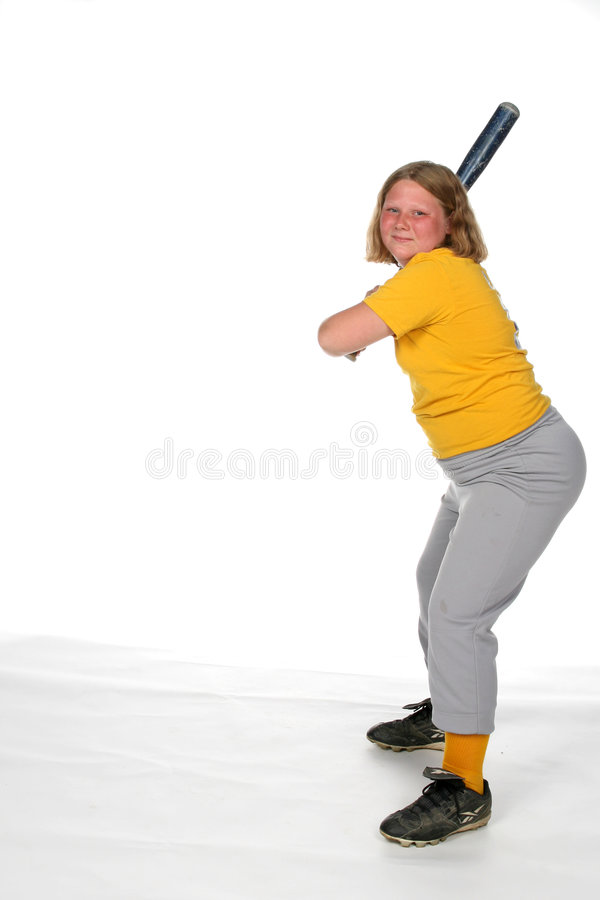 Zwaar meisje met softballknuppel royalty-vrije stock foto's