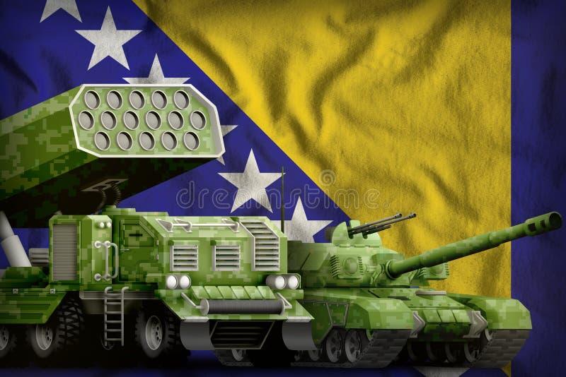 Zwaar militair de pantserwagensconcept van Bosnië-Herzegovina op de nationale vlagachtergrond 3D Illustratie stock illustratie
