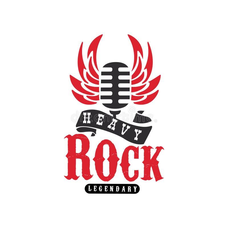Zwaar Rotsembleem, embleem met uitstekende microfoon en vleugels voor popgroep, festival, gitaarpartij of muzikale prestaties stock illustratie