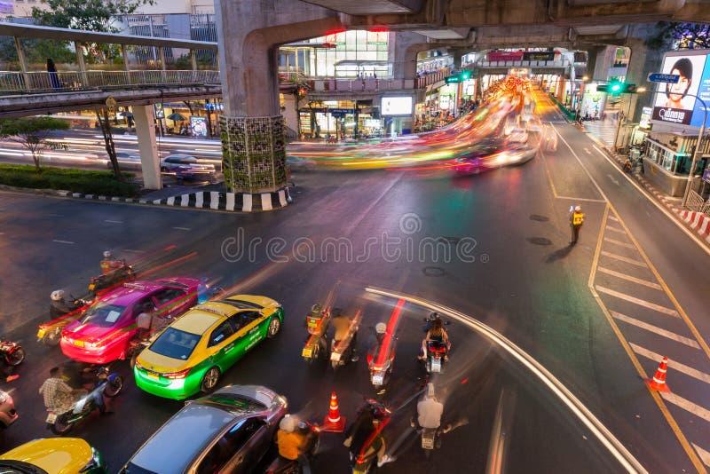 Zwaar verkeer in Siam Square, Bangkok, Thailand royalty-vrije stock foto