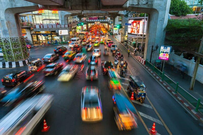 Zwaar verkeer in Siam Square, Bangkok, Thailand royalty-vrije stock afbeeldingen