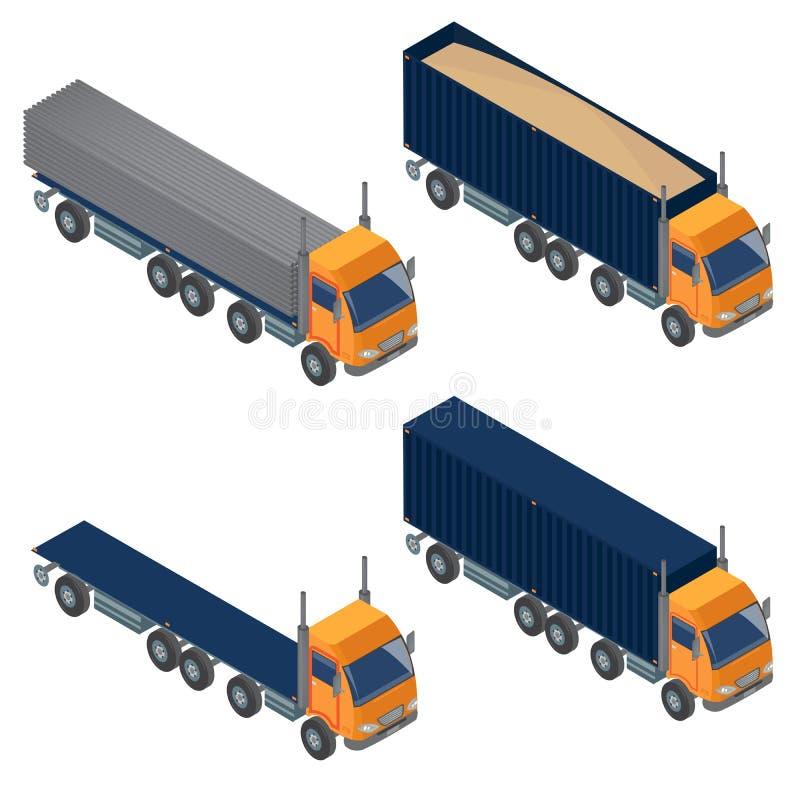 Zwaar Vervoer Isometrisch Vervoer Reeks vrachtwagens vector illustratie