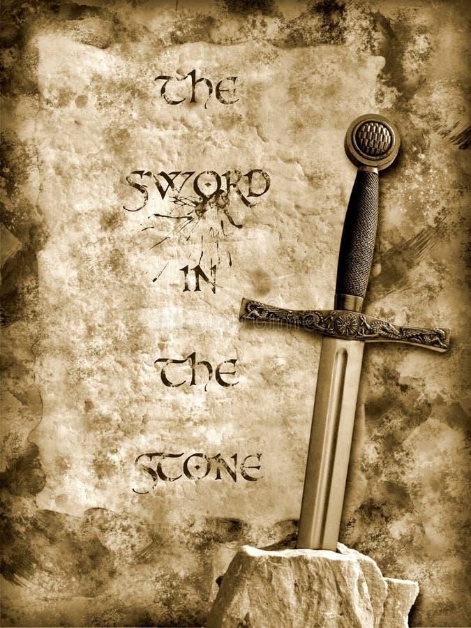 Zwaard in de steen royalty-vrije illustratie