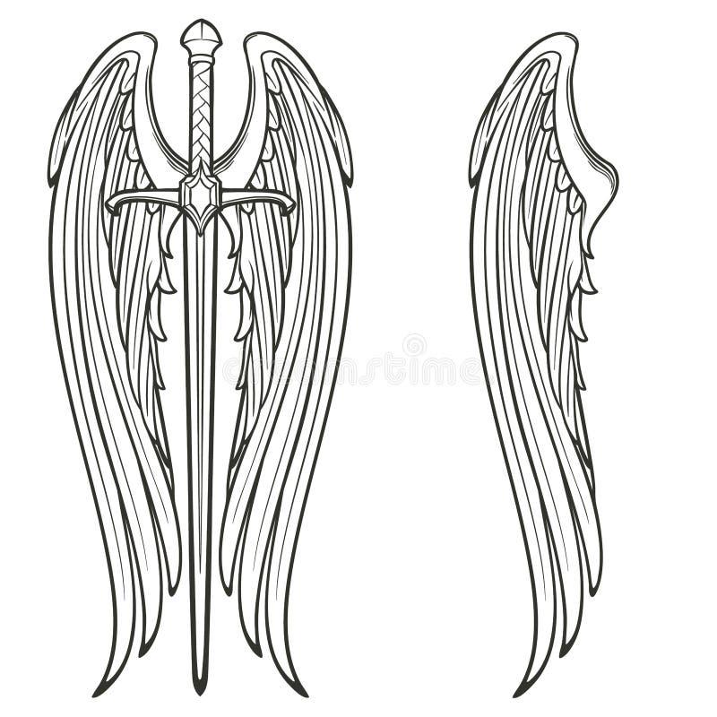 Zwaard en engelenvleugels royalty-vrije illustratie