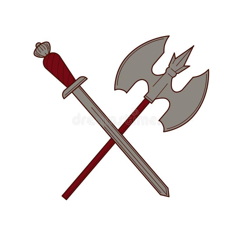 Zwaard en het bijl geïsoleerde materiaal van het de koningsleger van het ridderwapen royalty-vrije illustratie