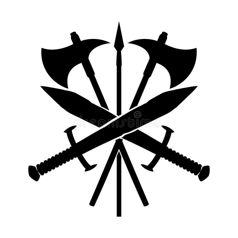 Zwaarden met assen en spear vector illustratie