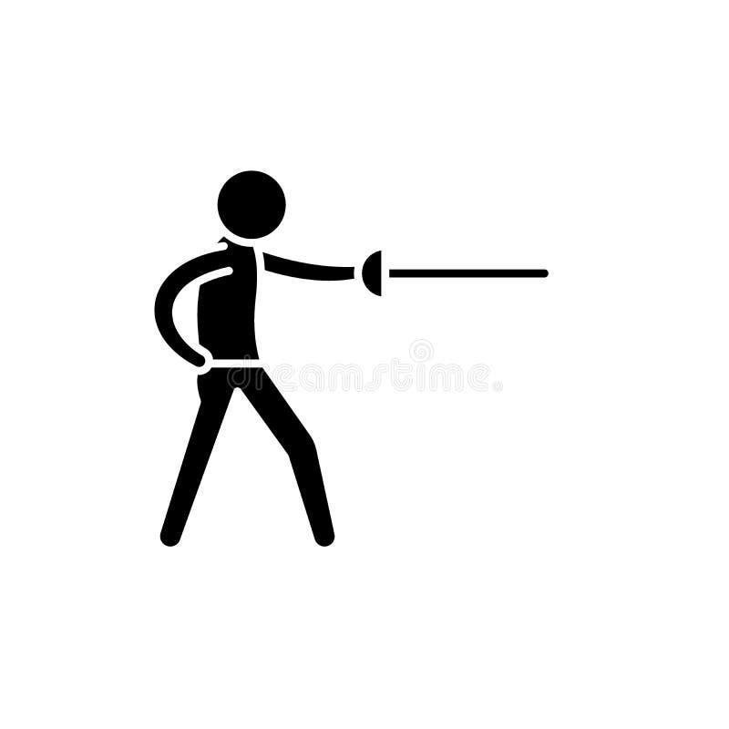 Zwaardvechter zwart pictogram, vectorteken op geïsoleerde achtergrond Het symbool van het zwaardvechterconcept, illustratie royalty-vrije illustratie
